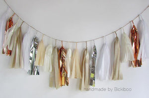 Tissue Paper Tassel Garland - Bridal Collection - Copper & Silver - Bickiboo Designs