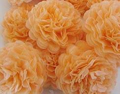 Cantaloupe Orange Button Mums Tissue Paper Flowers - Bickiboo Party Supplies