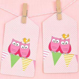 Pink Owl Gift Tag - Bickiboo Party Supplies