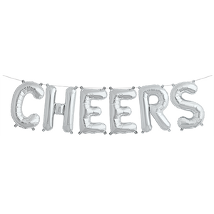Silver 'CHEERS' Balloons
