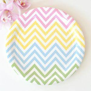 Chevron Pastels Large Party Plate - Bickiboo Designs
