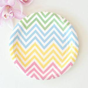 Chevron Pastels Dessert Party Plate - Bickiboo Party Supplies