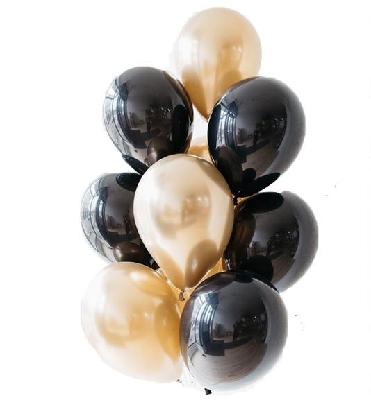 Chrome Gold & Black Balloons Bouquet