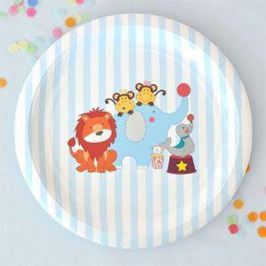 Circus Animals Large Round Party Plate - Bickiboo Party Supplies