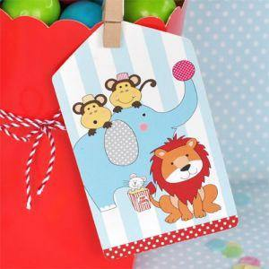 Circus Animals Gift Tag - Bickiboo Party Supplies