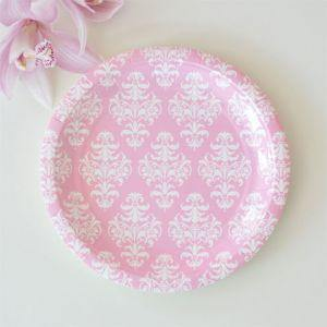 Damask Pink Dessert Party Plate - Bickiboo Party Supplies