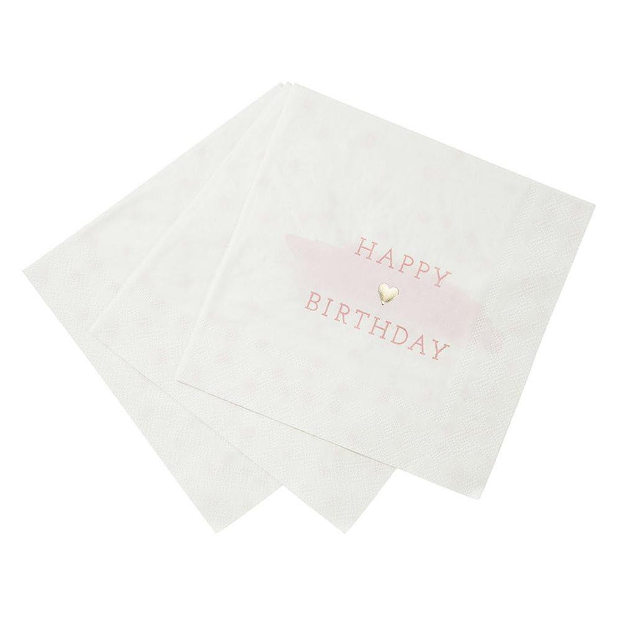 We Heart Pink & Gold Napkins - 16pack - Bickiboo Designs