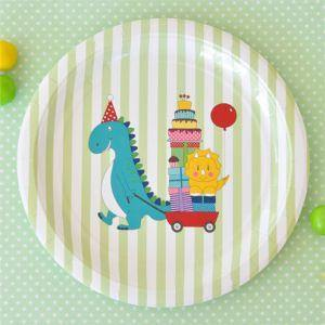 Dinosaur Large Round Party Plate - Bickiboo Party Supplies