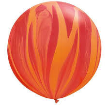 Red Orange Marble 76cm Balloon - Bickiboo Designs