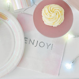 We Heart Pastel 'Enjoy' Napkins - 20pk