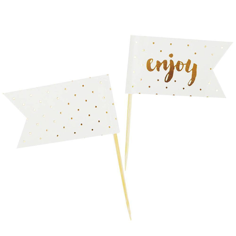 Enjoy Gold Cupcake Topper - 12 Pack - Bickiboo Designs