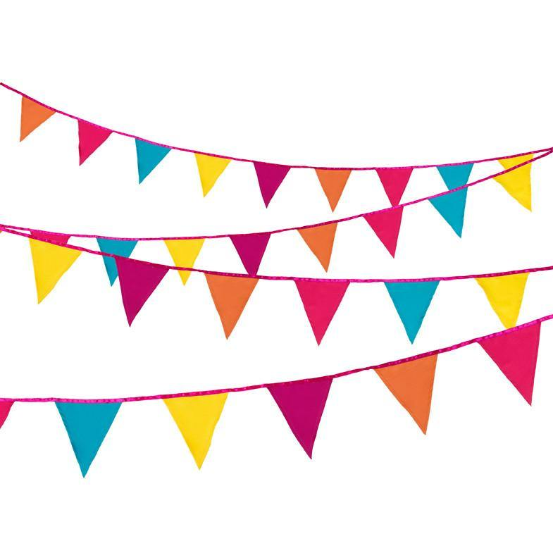 Decadent Decs Fiesta Fabric Bunting - Bickiboo Party Supplies