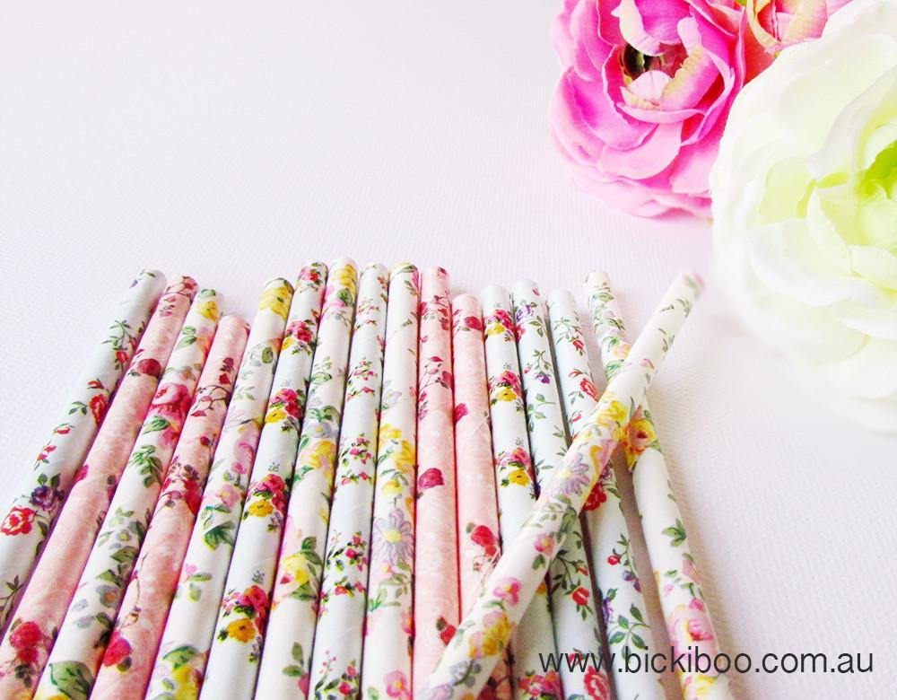 English Garden Paper Straws Limited Edition Multi Pack (25 pack) - Bickiboo Party Supplies