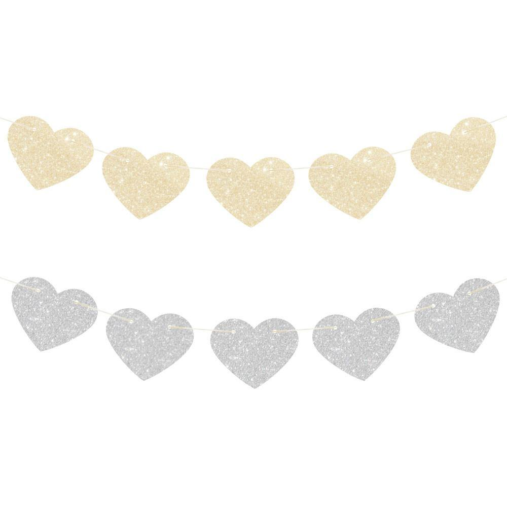 Gold & Silver Glitter Heart Reversible Garland - Bickiboo Party Supplies