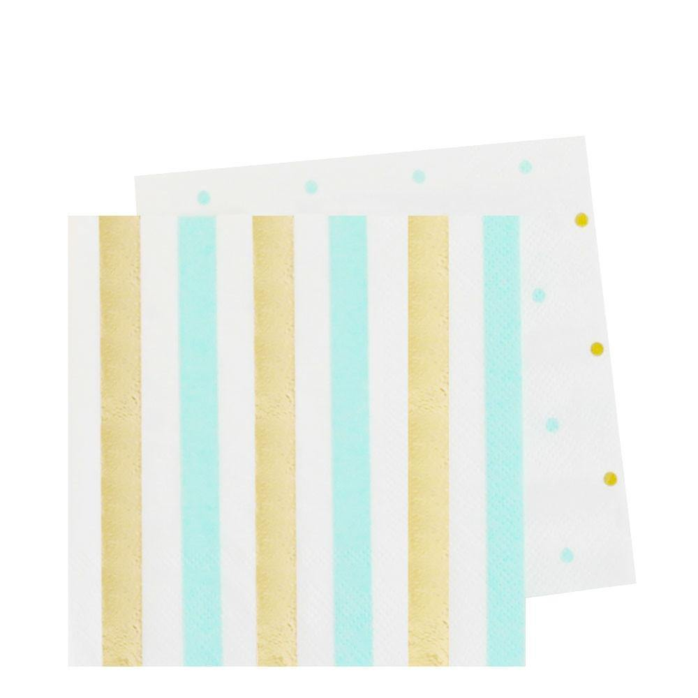 Gold & Mint Stripes & Spots Napkins - Pack of 20