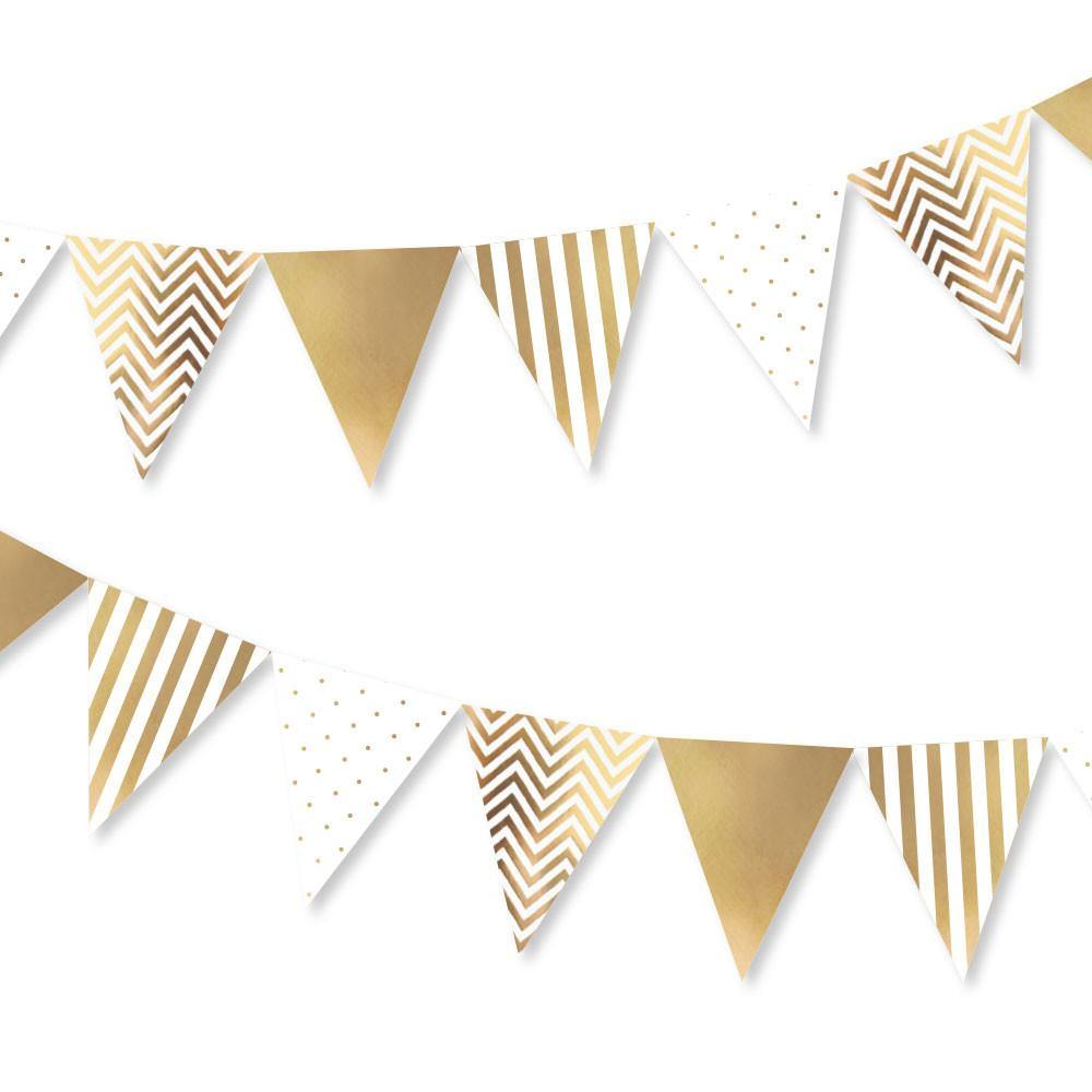 Gold Spots, Stripes & Chevron Party Buntings - Bickiboo Party Supplies