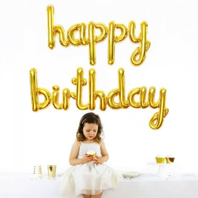 Gold Happy Birthday Script Balloon