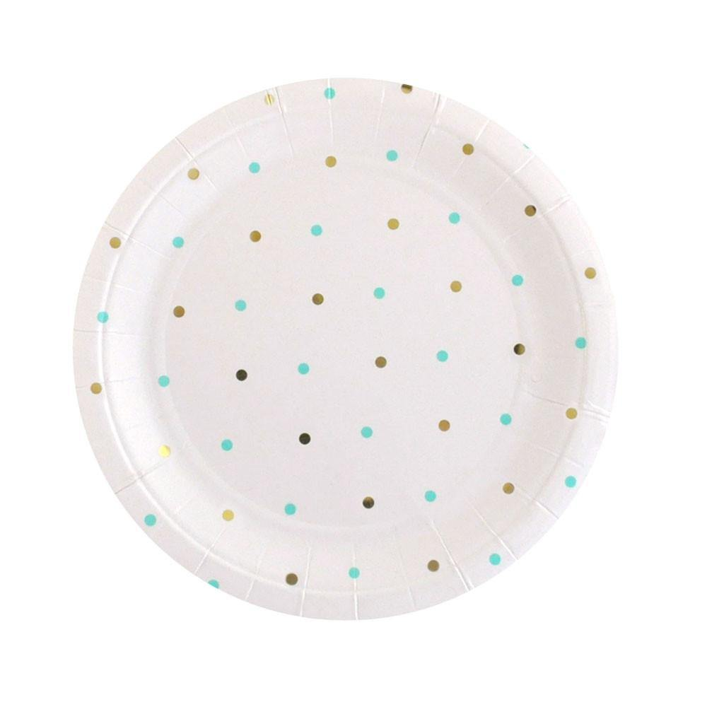 Gold & Mint Spots Dessert Party Plates (10 pack)