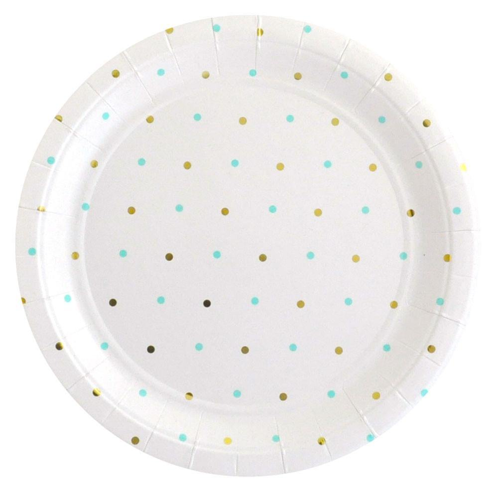 Gold & Mint Dots Large Plate - 10 pack
