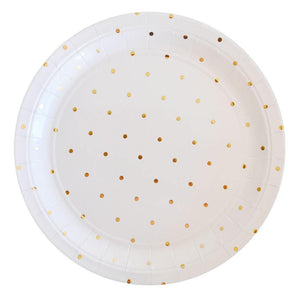 Gold Spots Large Party Plates (10 pack) - Bickiboo Party Supplies