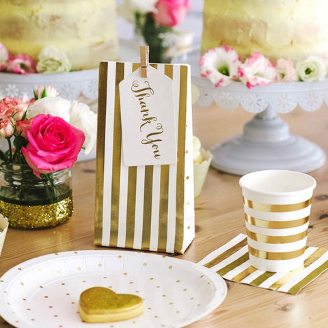 Gold Stripes & Spots Party Bag - 10 Pack - Bickiboo Party Supplies