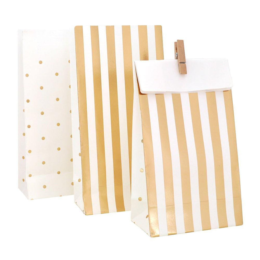 Gold Stripes & Spots Party Bag - 10 Pack - Bickiboo Designs