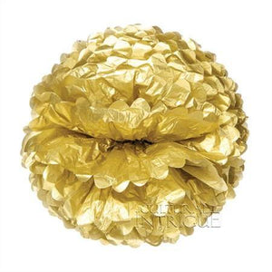 Gold Tissue Paper Pom Poms - Bickiboo Party Supplies