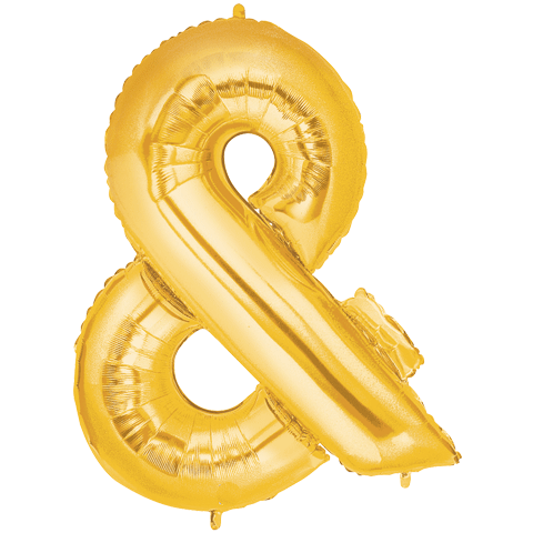 Giant Gold Foil Ampersand Balloon 100cm