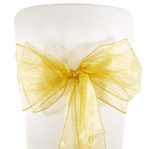 Gold Organza Chair Sashes (pack of 5) - Bickiboo Party Supplies
