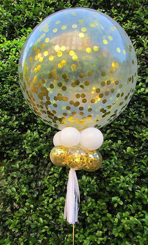 Giant 90cm Gold Confetti Balloon - Bickiboo Designs