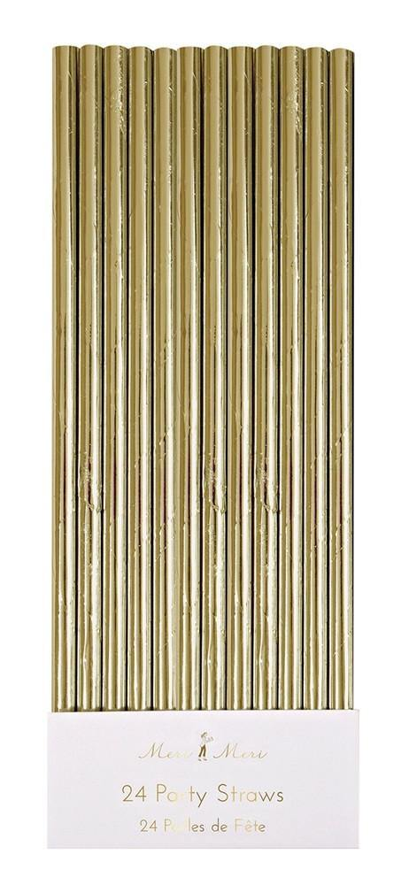 Meri Meri Gold Foil Paper Drinking Straws (25 pack) - Bickiboo Party Supplies