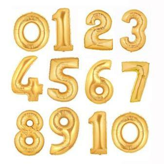 Giant Gold Foil Number Balloon 100cm - Bickiboo Party Supplies