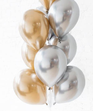 Chrome Gold & Silver Balloons Bouquet