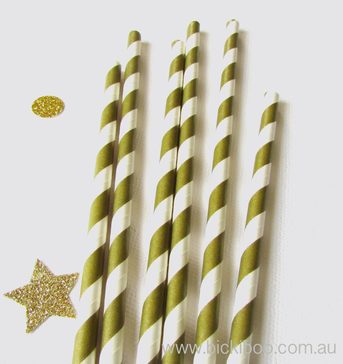 Gold Stripe Paper Drinking Straws (24 pack)