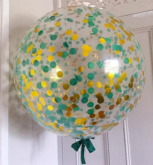 Jumbo Helium Filled  Confetti Balloon - Green & Gold - Bickiboo Designs