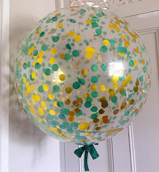 Jumbo Confetti Balloon Green & Gold - 90cm