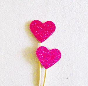 Hot Pink Glitter Heart Swizzle Sticks