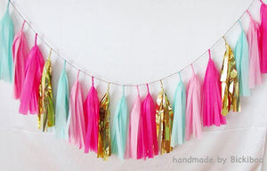 Tissue Paper Tassel Garland - Hot Pink & Mint - Bickiboo Designs