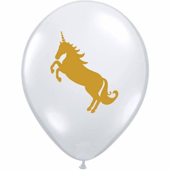 Clear & Gold Unicorn 28cm Balloons  (3pack)