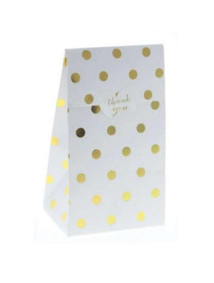 Sambellina White with Gold Foil Polkadot Treat Box - 12 Pack