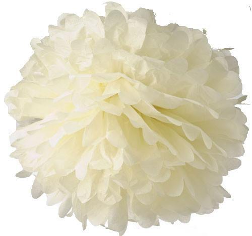 Ivory Tissue Paper Pom Poms - Bickiboo Party Supplies
