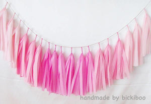 Tissue Paper Tassel Garland - Kissing Pinks