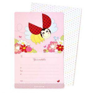 Lady Beetle Birthday Party Invitation - Bickiboo Party Supplies