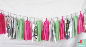 Tissue Paper Tassel Garland - Lime & Hot Pink