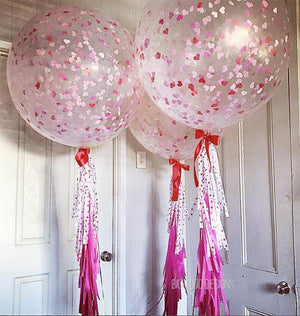 Jumbo Confetti Balloon - Love Hearts - 90cm
