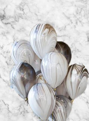 Black & White Marble Balloons Bouquet