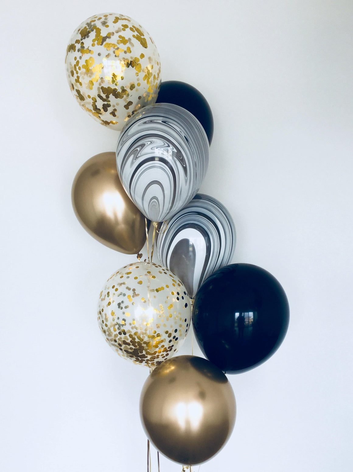 Black marble & gold confetti Balloons Bouquet