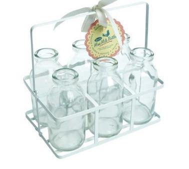 Glass Milk Bottles in a Crate - Bickiboo Designs