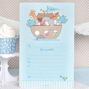 Noahs Ark Blue Large Party Plate - Bickiboo Designs