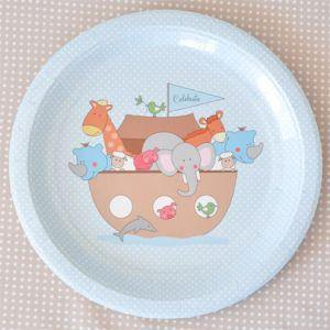 Noahs Ark Blue Large Party Plate